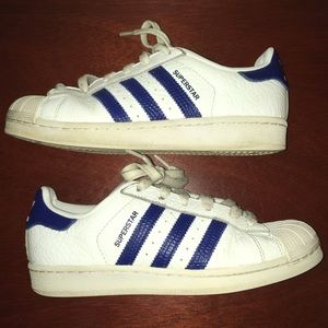 Adidas Blue Superstar Stripe Shoes
